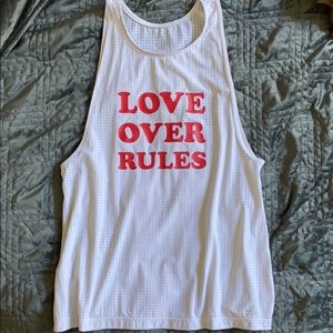 LOVE OVER RULES tank shirt